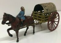 Vintage 1930s Britains Lead Covered Cart Wagon + horse & rider