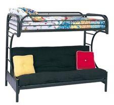 Futon Bunk Bed Double Deck Dorm Home Room Twin Metal Frame Couch Loft Black