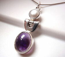 Cultured Pearl Purple Amethyst Pendant 925 Sterling Silver Corona Sun Jewelry