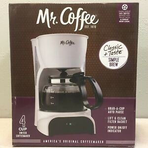 Mr. Coffee DR4RB Simple Brew 4 White Coffee Maker