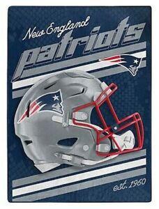 "Official NFL New England Patriots 60"" x 80"" Raschel Throw Blanket Classic Design"