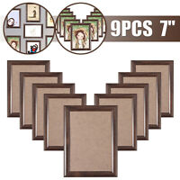 "9PCS 7"" Large Wooden Photo Picture Frame Collage Aperture Decor Wall Mounted AUS"