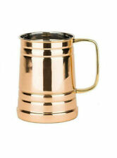 Old Dutch 4.5 Inch Solid Copper Tankard With Brass Handle 1 Pint