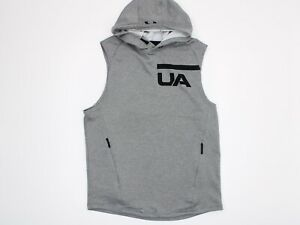 Under Armour Men's Hooded Tank Top Size Medium Gray Fitted Cold Gear