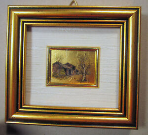 Miniature House in Woods 23 Kt Gold Leaf Framed Art Reproduction AIA Italy Decor
