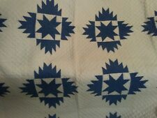 Antique Vintage Blue Star Sawtooth Quilt 78x75