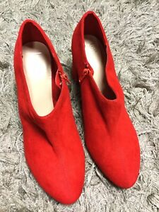 Ladies M&S Red Suede Heeled Ankle Boots UK 8 Christmas