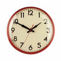 28cm Retro Design Red Metal Wall Clock Cream Background Black Numbers & Hands