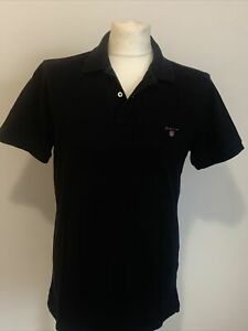Mens Gant Navy Blue Regular Fit Navy Blue Polo Shirt Shirt Size Medium