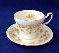 """ROYAL DOVER FINE BONE CHINA TEA CUP &SAUCER """"MOTHER"""" YELLOW & GOLD FLOWERS &TRIM"""