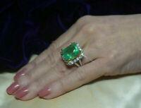 4Ct Emerald Cut Emerald & Diamond 14K White Gold Finish Halo Engagement Ring