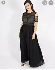 Simply Be Lovedrobe Maxi Long Dress Black And Gold Size 18 UK BNWT