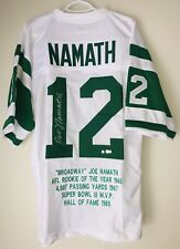 Joe Namath New York Jets Signed Autographed Football Stat Jersey (STEINER COA)