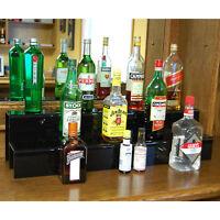 Liquor Bottle Shelf  - 34-inch 2 Tier Black - Bar Alcohol Shelving Decor Display