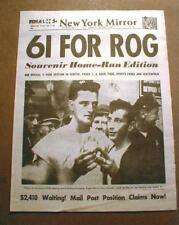 1961 newspaper reprint NY Yankee star ROGER MARIS sets new Home Run Record of 61