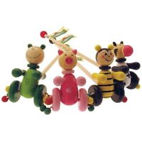 Brand New House of Marbles Wooden Push and Pull Along Toys Bee Pig Frog Cow