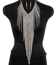 Body Necklace & Earring Tassel Set Silver Women Long Body Chain US Seller New
