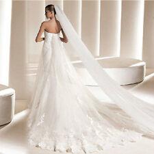 "Royal Cathedral White 2T 3M 120"" Long Soft Sheer Wedding Veil 2 Tier No Trim USA"