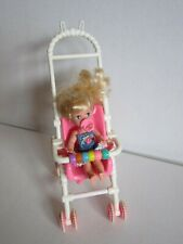 Mattel Barbie Vintage 1994 STROLLIN FUN SISTER KELLY Waving Doll Stroller Blonde