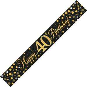 9ft Black & Gold Happy 40th Birthday Foil Banner Age 40 Party Decorations