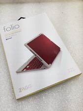 NEW ZAGG Folio Case Hinged with Wireless Bluetooth Keyboard for iPad Air - Red