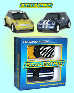 Scalextric Racing Pack - C3128 - 2 Mini Coopers Blue & Yellow - Sealed Box