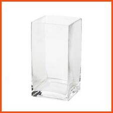 12 x LARGE CRYSTAL CLEAR CUBE GLASS VASES 15x15cm Wedding Display Home Decor