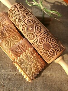Engraved Wooden Rolling Pin Embossed Dough Roller Carved Molds Textured Rolling