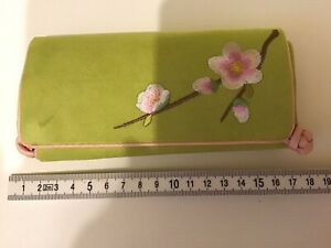LIME GREEN PINK BLOSSOM FLORAL TRAVEL JEWELLERY ROLL WRAP CLUTCH BAG CASE PURSE
