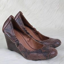 Lucky Brand Gaill Snake Print Stacked Wedge Shoes Brown Leather Size 10
