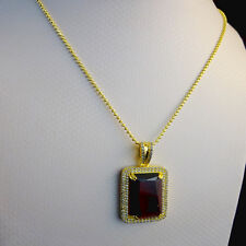 Real Sterling Silver Lab Diamonds Red Ruby Charm Pendant & 24 inch Moon Cut Set