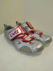 Lake (CF SUB 50) ,Men's US 13 EU 47 MM 296.5-300 Carbon Road Bike Shoes, Silver