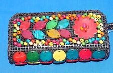 Wallet, Wristlet  Coconut Shell, Wooden Beads Vintage Square Clutch $9 NWT F/Sh