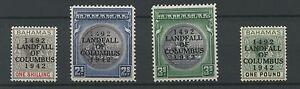 Bahamas SG171b 172b 173a 175a 1942 Landfall of Columbus 450th Anniversary Shade