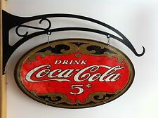 COCA COLA LARGE DOUBLE SIDED OVAL SIGN ON HEAVY DUTY FLANGE HANGER