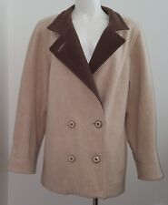 Mackintosh Tan 100% Wool Jacket Coat Double Breasted Women's Size 10 Lined Brown