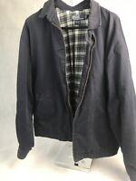 Vintage Polo Ralph Lauren Navy Blue Plaid Lined Jacket Size Large