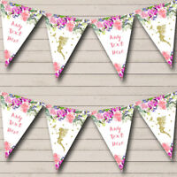 Floral Gold Fairy Personalised Baby Shower Bunting Party Banner