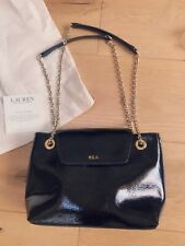 New Designer Ralph Lauren Black Patent Leather & Gold Hardware Bag Cost £249