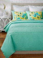 $400 Nanette Lepore Villa Cottage Fresh Turquoise 3-Piece King Duvet Cover Set