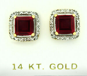 RUBY 3.94 Cts & GENUINE DIAMONDS STUD EARRINGS 14K GOLD * New With Tag *