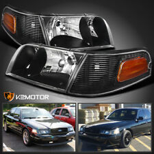 98-11 Ford Crown Victoria Black Headlights+Black Corner Signal Lamps Left+Right