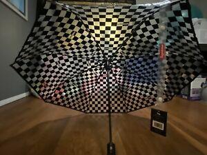 NWT Supreme Shed Rain Transparent Checkerboard Checkered Umbrella