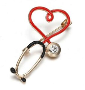 Brooch Pin Steel Stethoscope Doctor And Red Heart