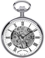 Skeleton Pocket Watch Chrome Plated Open Face with Roman Numerals - 17 Jewel
