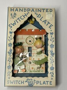 Vintage beautiful handpainted by IRMI with box  Switchplate Light Switch Cover