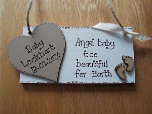 Baby Bereavement Memorial Plaque Baby Loss Sign Personalised handmade Angel Baby