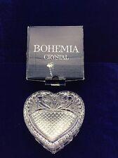 VINTAGE BOHEMIA LEAD CRYSTAL HEART DISH TRINKET BOX WITH LID ~ ORIGINAL BOX