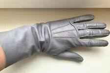 Vintage 1960S Grey Genuine Leather Gloves Inside Suede Leather – Size Approx 7