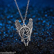 Supernatural necklace pentagram angel wings vintage pendant jewelry